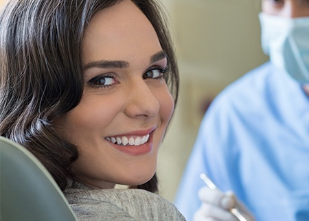Smiling woman during dental checkup