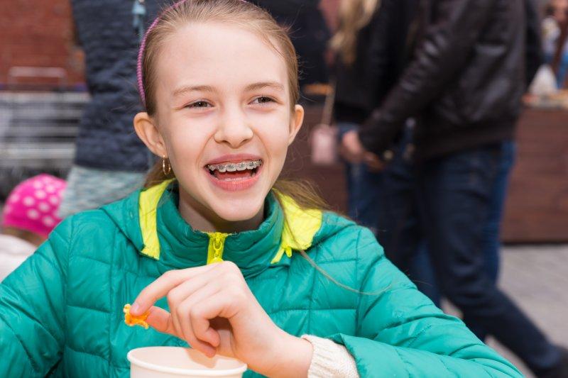 Schoolgirl eating food on her lunch break